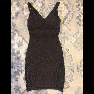 Bebe addiction bronze fishnet bandage dress xs
